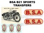 BSA B21 Transfers and Decals Sets